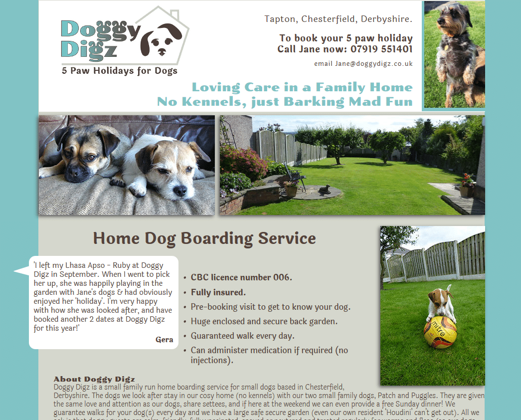 Home Dog Boarding Service in Chesterfield with Doggy Digz_ - www.doggydigz.co.uk