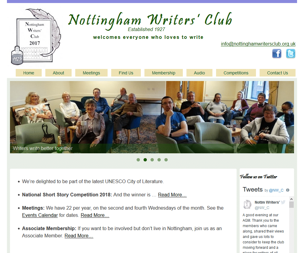 Nottingham Writers' Club welcomes everyone who loves to write - www.nottinghamwritersclub.org.uk