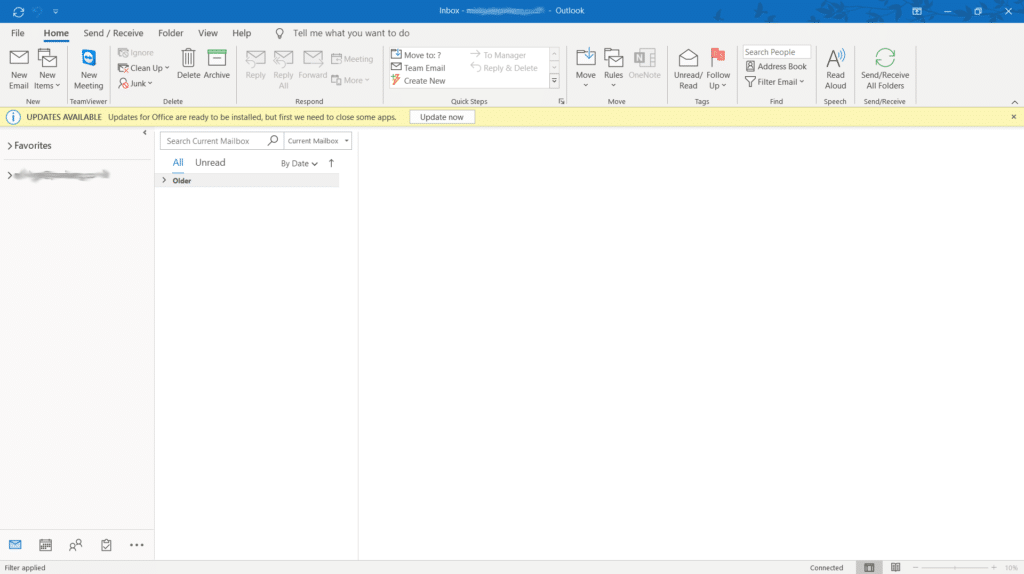 Outlook main screen: From the main menu, select 'File'.
