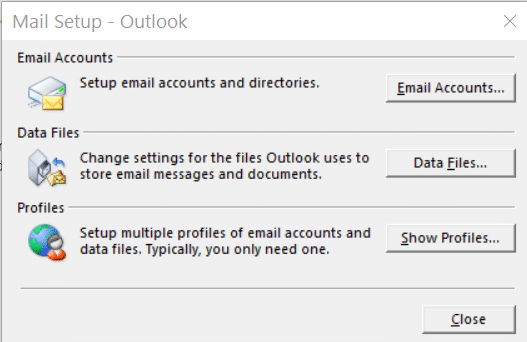 Mail Setup: Select 'Email Accounts'.