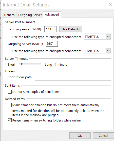 More Settings - Advanced tab: Enter the 'Server Port' details