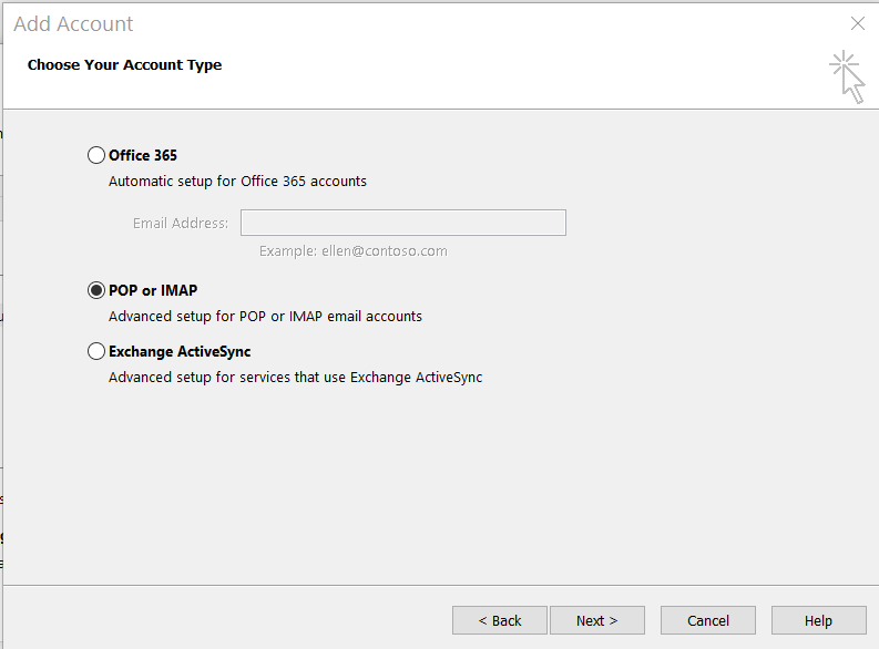 Add Account: Select 'POP or IMAP'.
